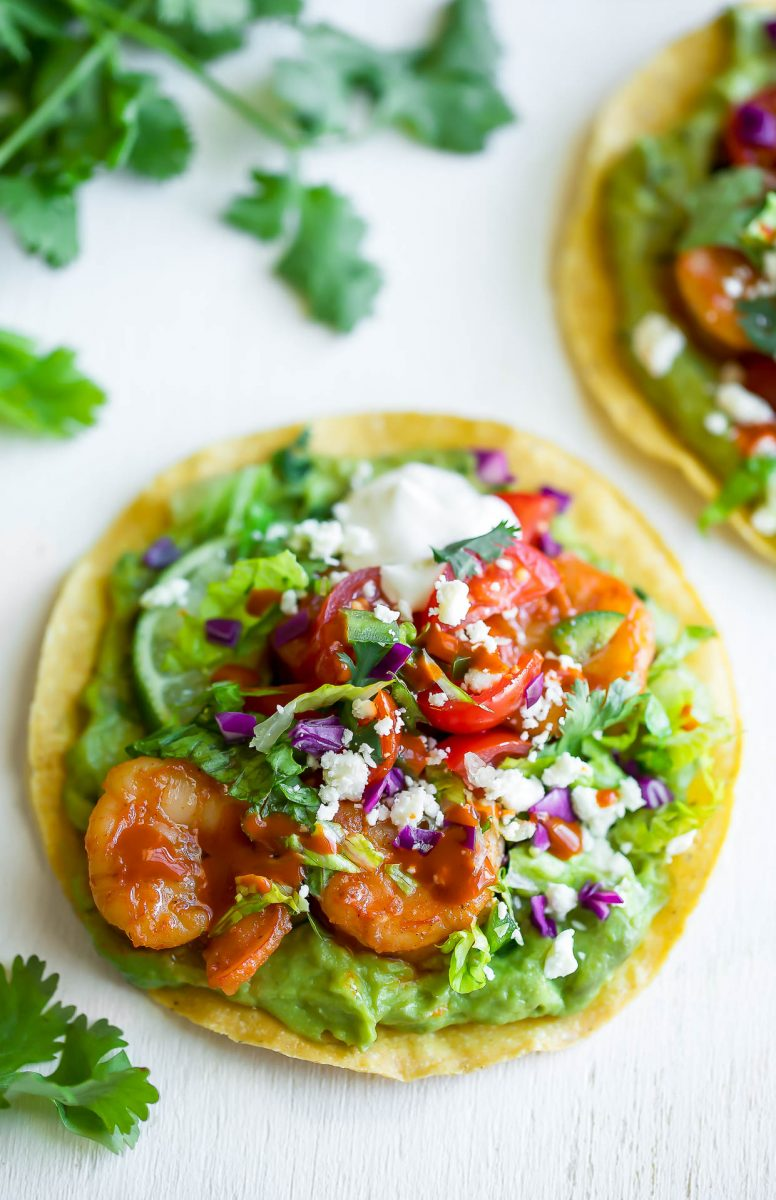 Spicy Shrimp Tostadas with Blender Guacamole