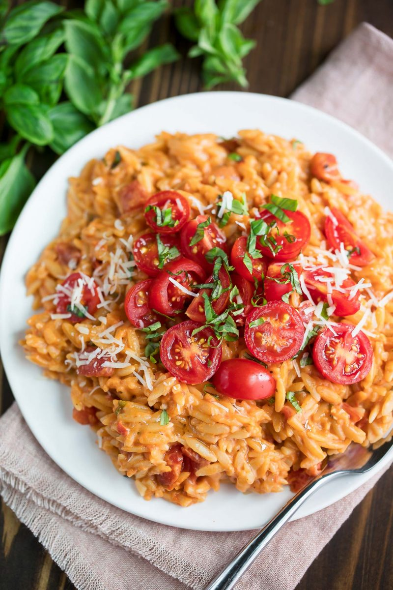 Tomato Orzo with Basil