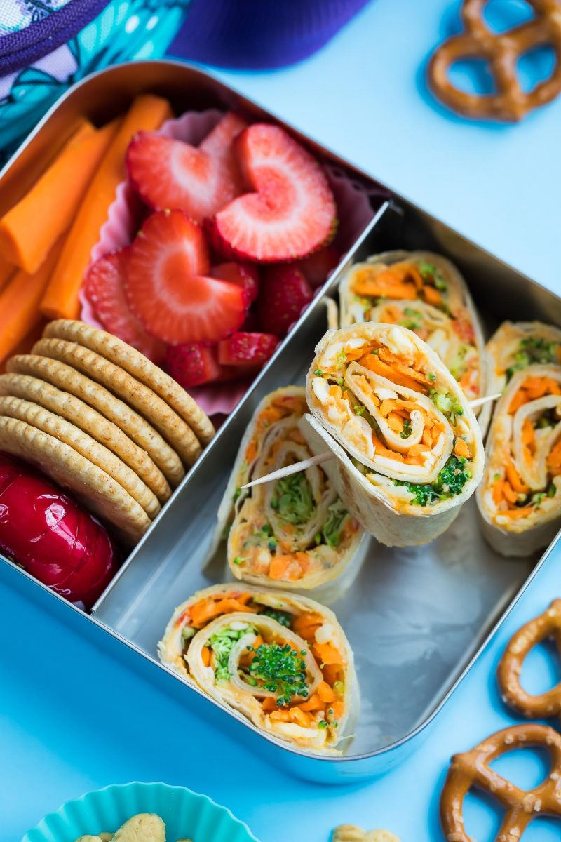 Healthy Veggie Tortilla Rollups with Hummus - Packed Lunch Photo