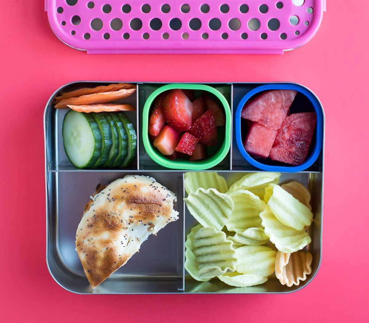 Bento Box Lunch with Fruit, Bagel, and Veggie Straws
