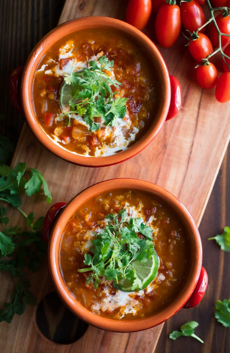 Red Lentil Curry with Cilantro and Coconut Milk