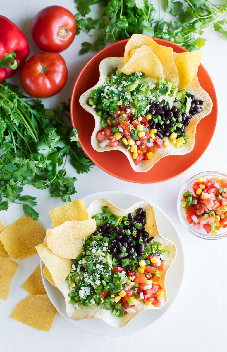 Homemade Tortilla Bowls with Taco Salad