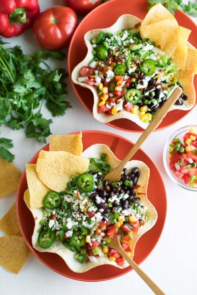 Taco Salad in Tortilla Taco Bowls