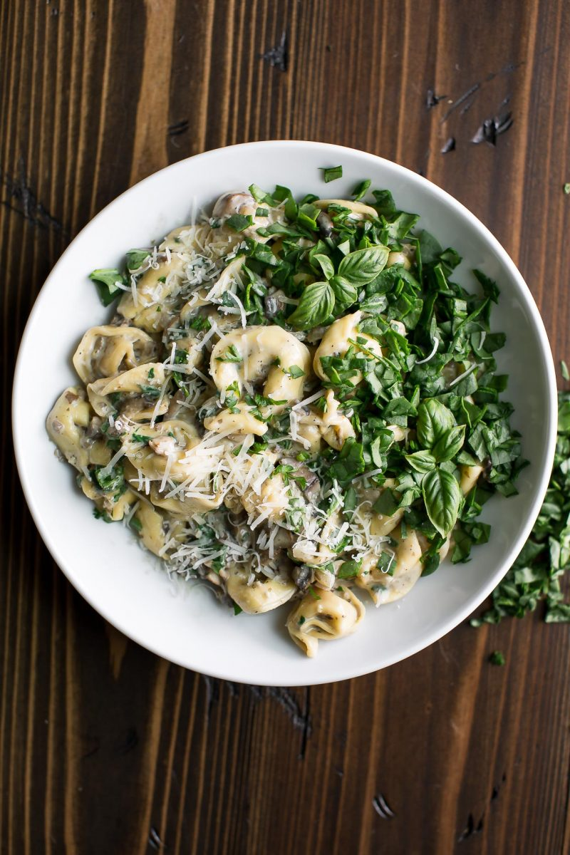 Creamy Mushroom and Spinach Tortellini Bowl with Parmesan Topping