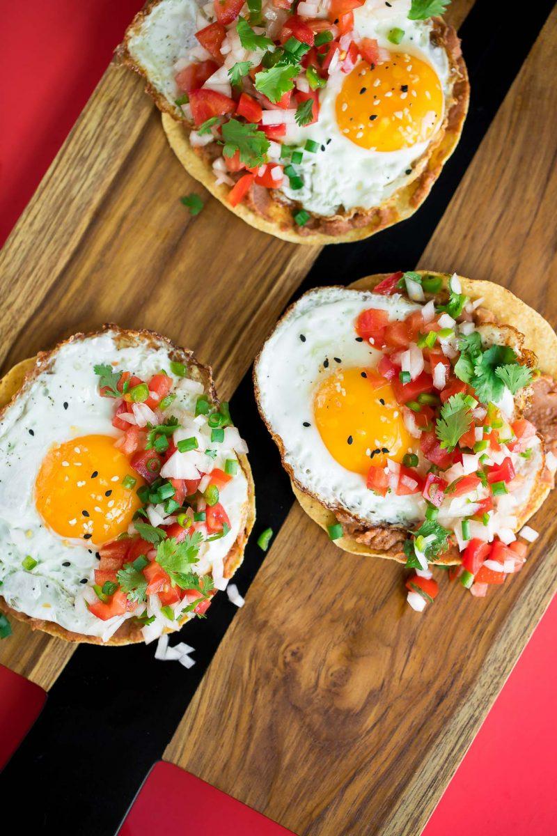 Breakfast Tostadas with Fried Eggs