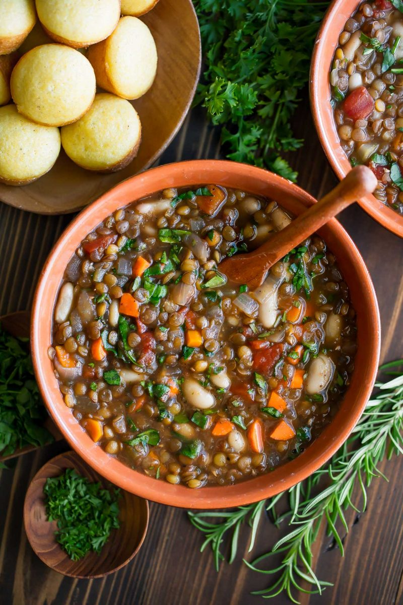 Italian Lentil Soup with Cornbread Muffins