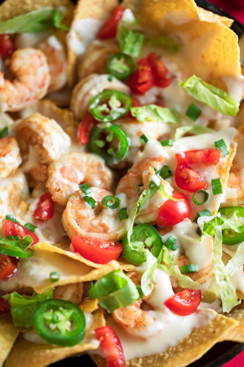Shrimp Nachos with White Queso and Toppings
