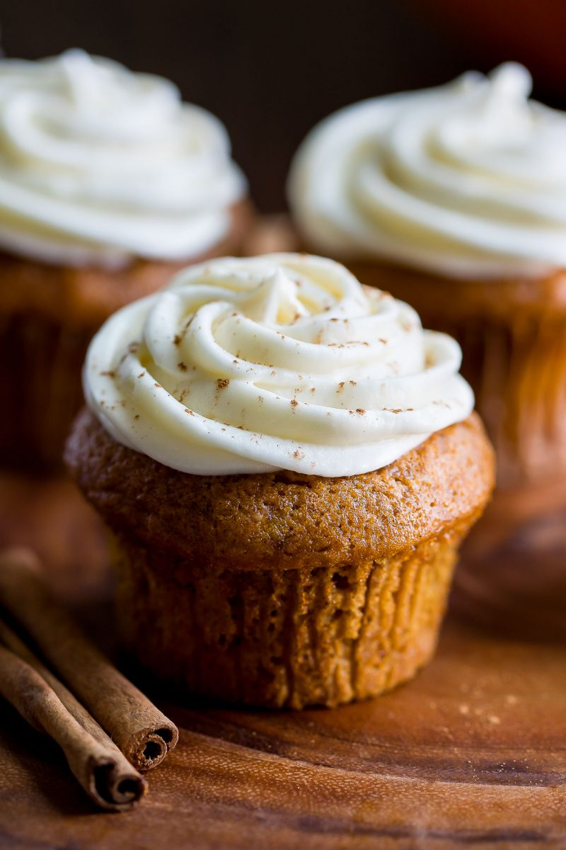 Small Batch Pumpkin Cupcakes with Cream Cheese Frosting