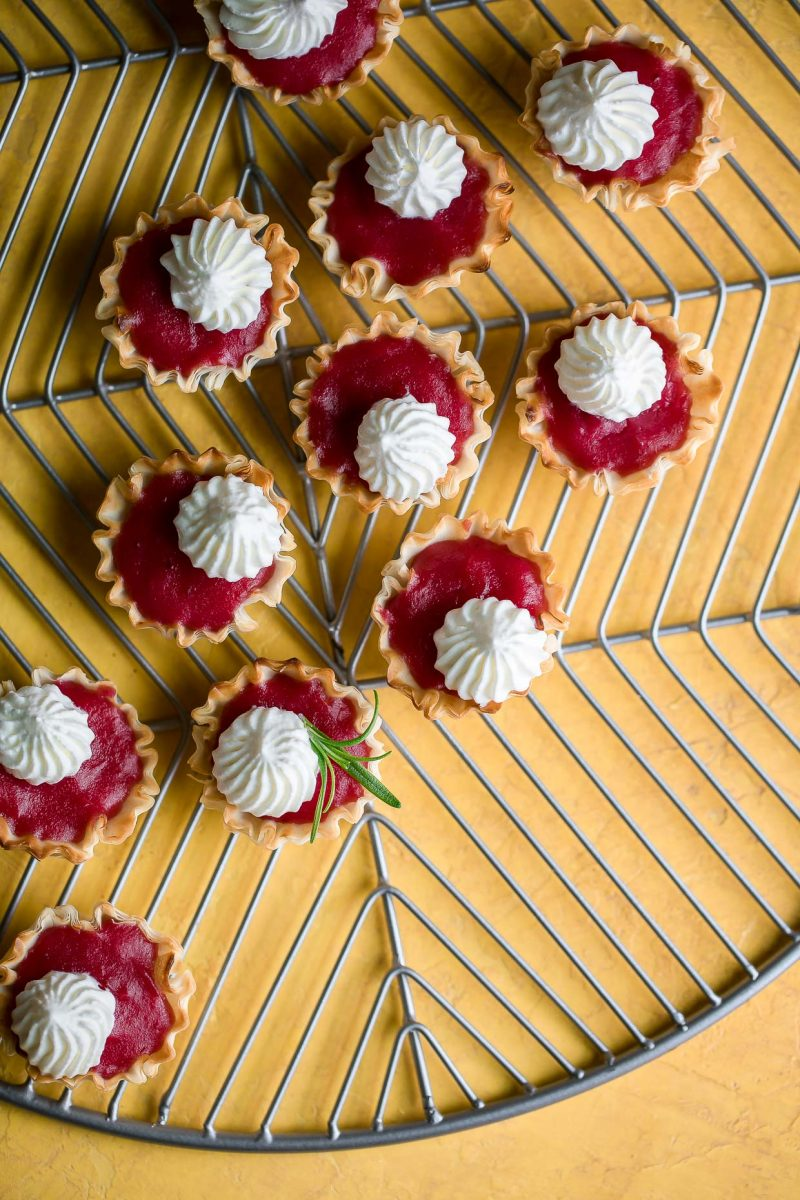 Mini Cranberry Phyllo Cup Dessert Bites