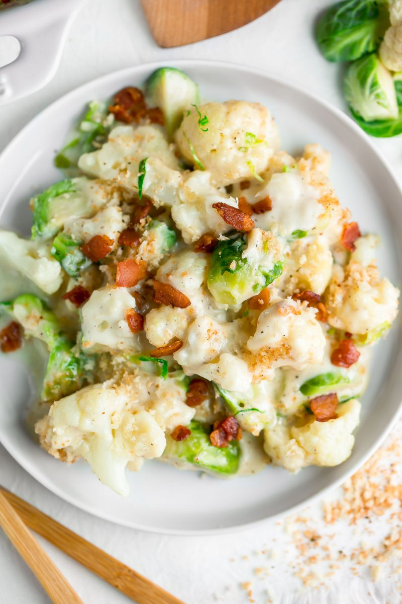 Cheesy Cauliflower and Brussels sprout Gratin