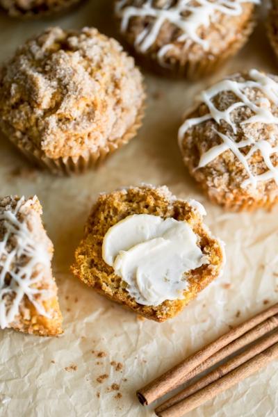 Pumpkin Apple Muffins with Cinnamon Sugar Streusel and Vanilla Glaze