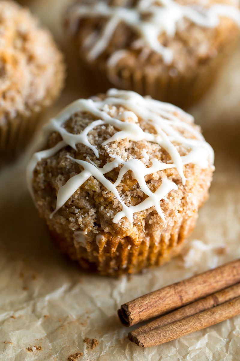Pumpkin Apple Muffins with Cinnamon Sugar Streusel and Vanilla Glaze