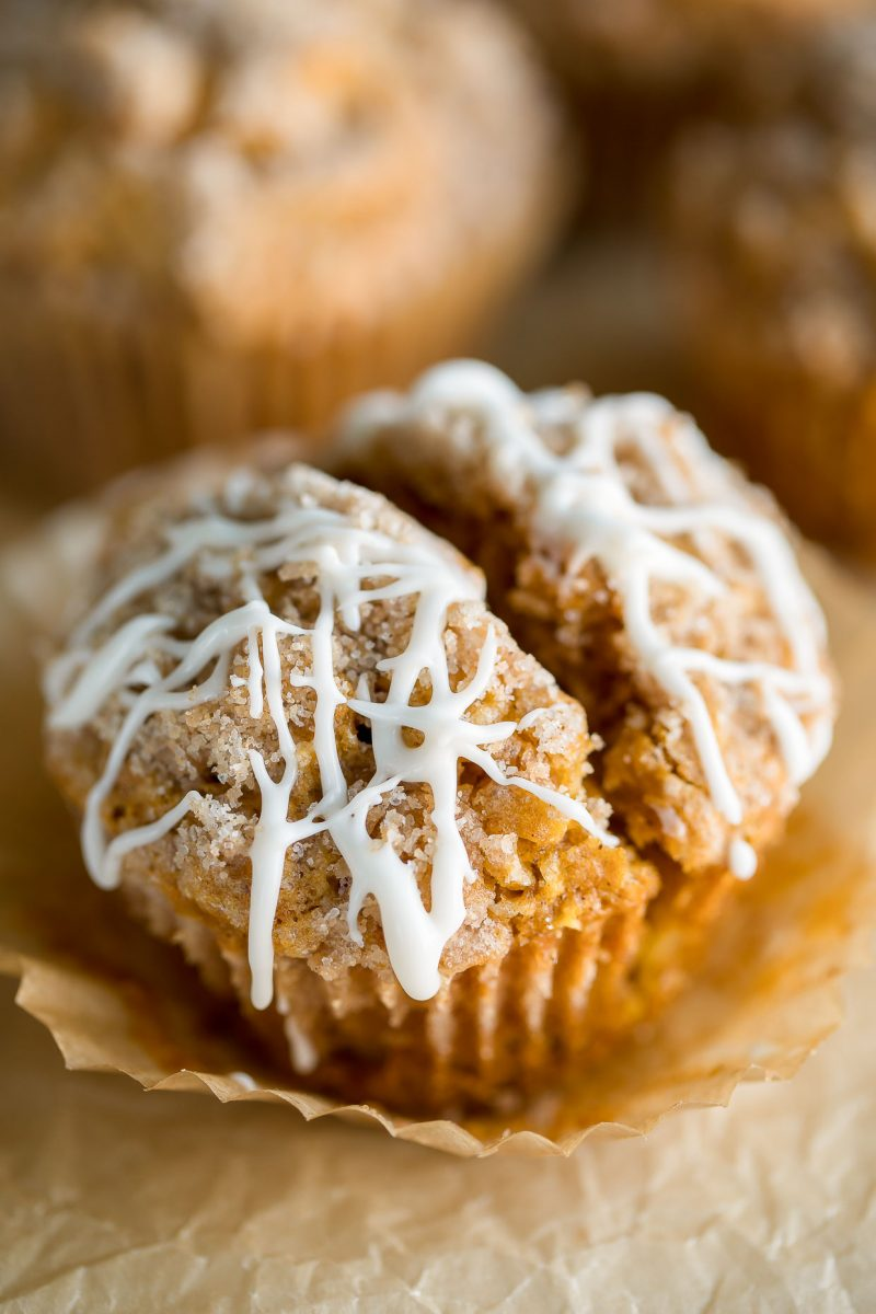 Pumpkin Apple Muffins with Streusel and Glaze