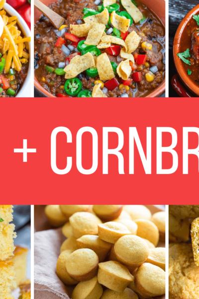 Chili and Cornbread Recipes Collage