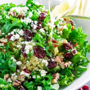 Cranberry Kale Salad with Candied Pecans and Feta