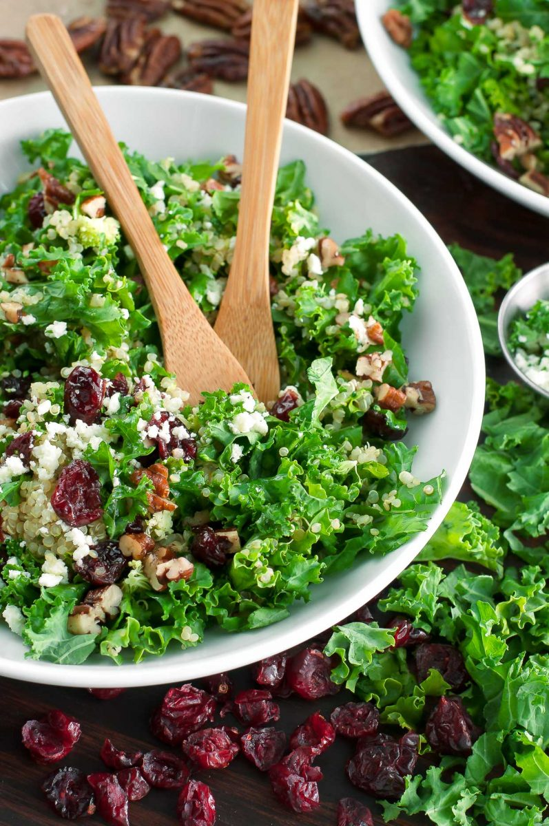 Kale Salad with Cranberries and Quinoa