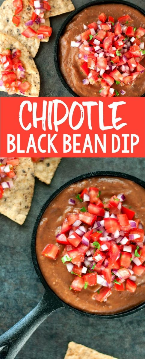 This Chipotle Black Bean Dip with Pico de Gallo is healthy and delicious! Serve up this vegan bean dip as a quick and easy snack or appetizer and a tasty addition to taco night!