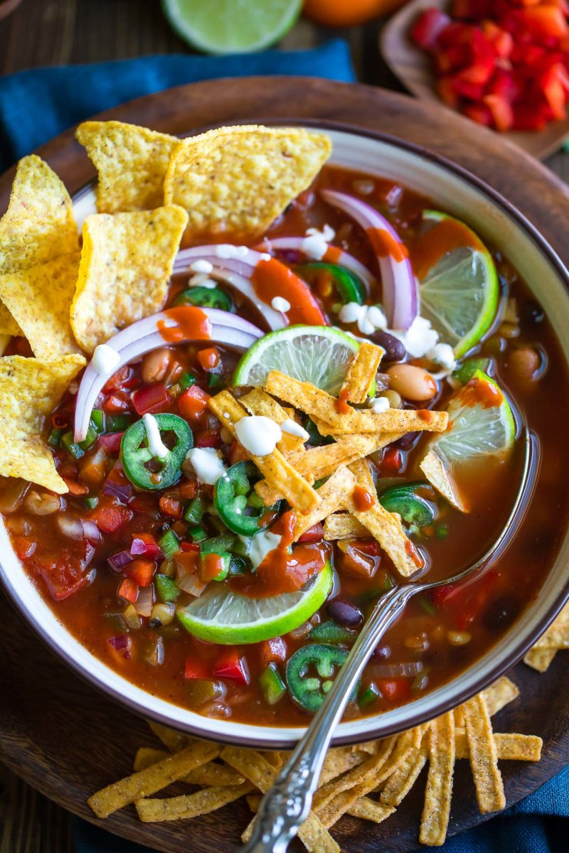Vegetarian Taco Soup with Tortilla Chips and Jalapeños