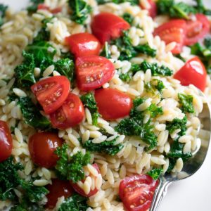 Lemon Orzo with Parmesan, Kale, and Cherry Tomatoes