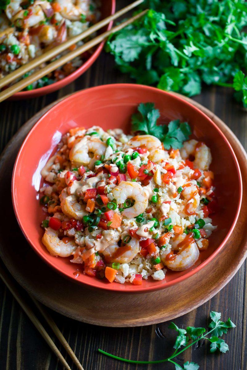 Shrimp Cauliflower Fried Rice with Yum Yum Sauce and Sriracha