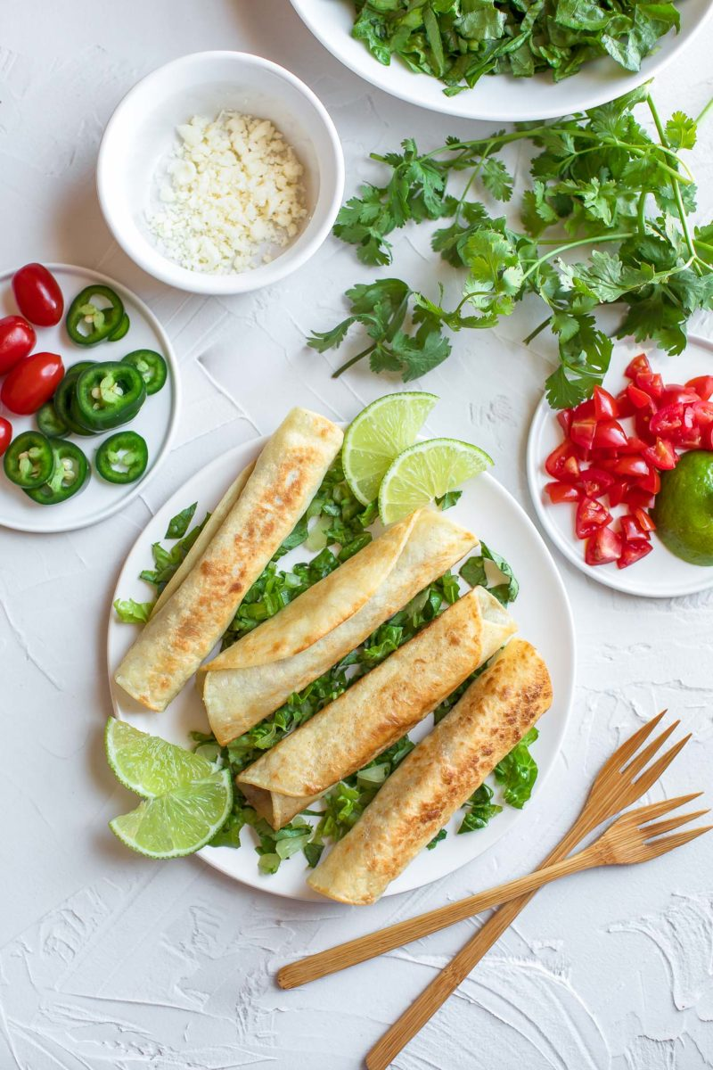 Vegetarian Taquitos with Toppings