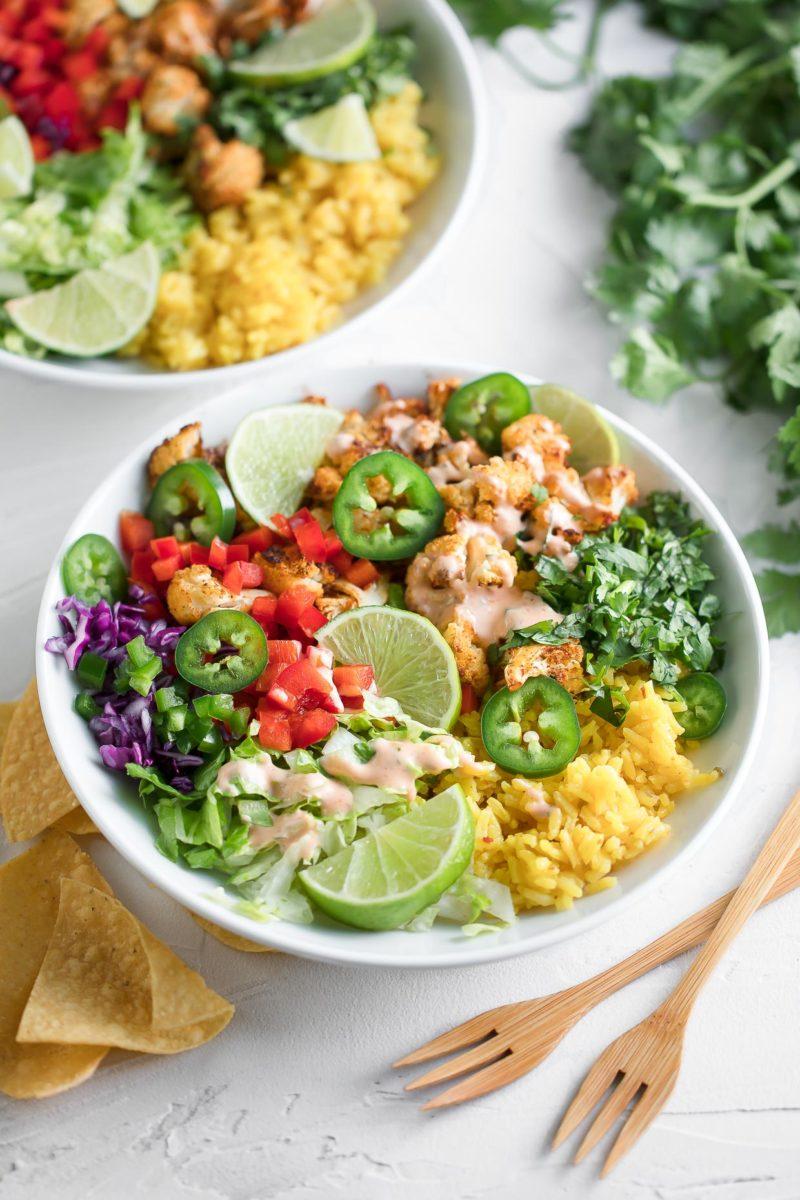 Vegetarian Burrito Bowls with Roasted Cauliflower
