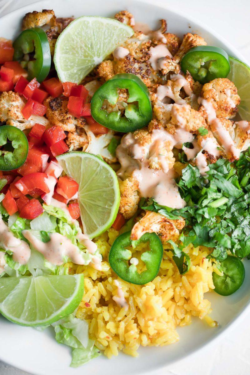 Roasted Cauliflower Vegetarian Burrito Bowls with Sriracha Ranch