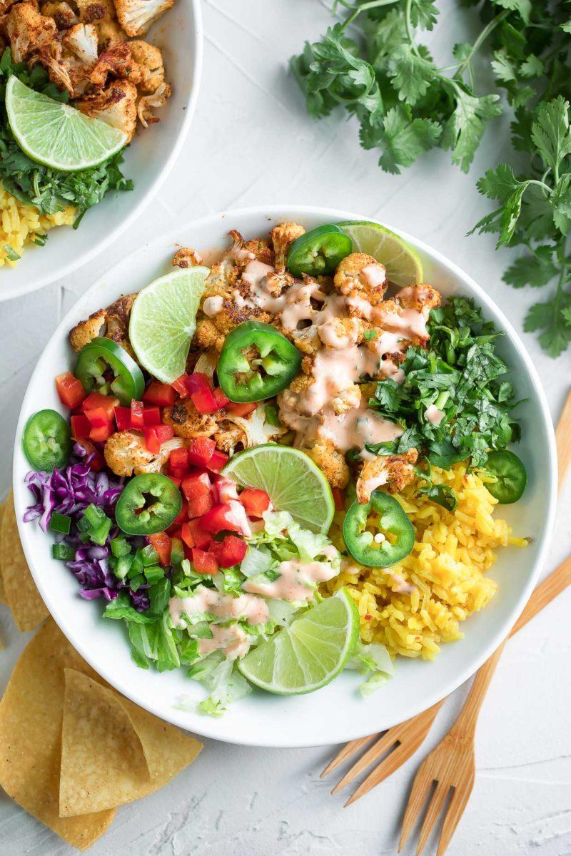 Cilantro Lime Cauliflower Vegetarian Burrito Bowl