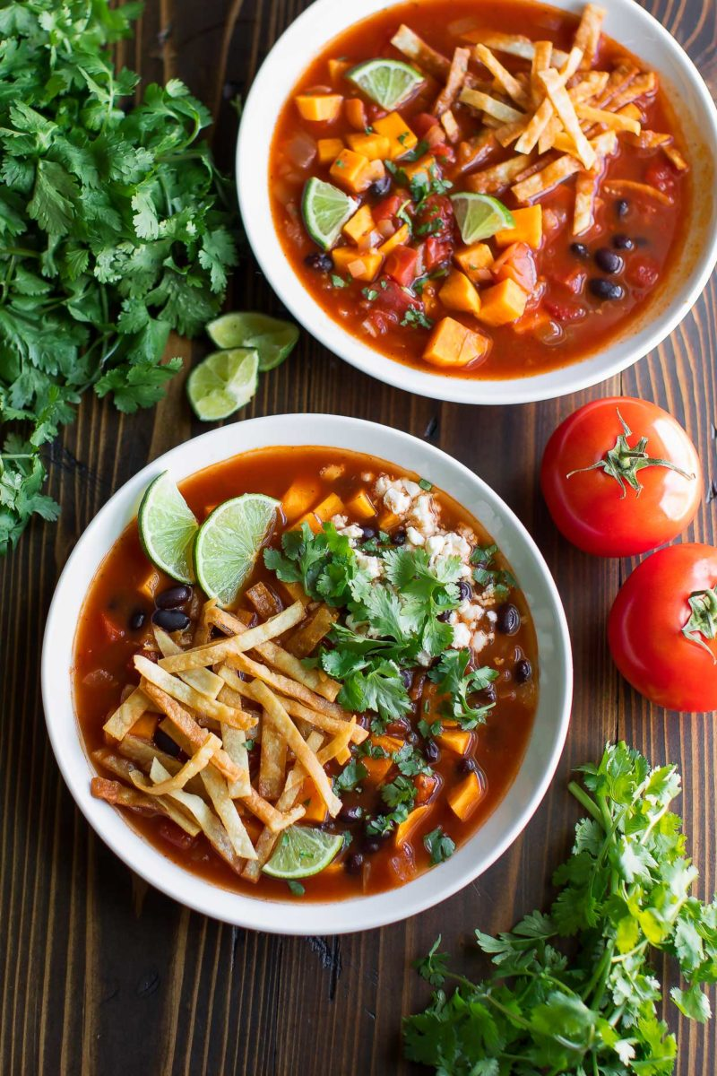 Vegetarian Tortilla Soup with Black Beans and Sweet Potato