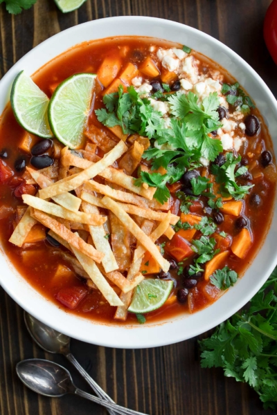Vegetarian Black Bean Tortilla Soup with Crispy Tortilla Strips
