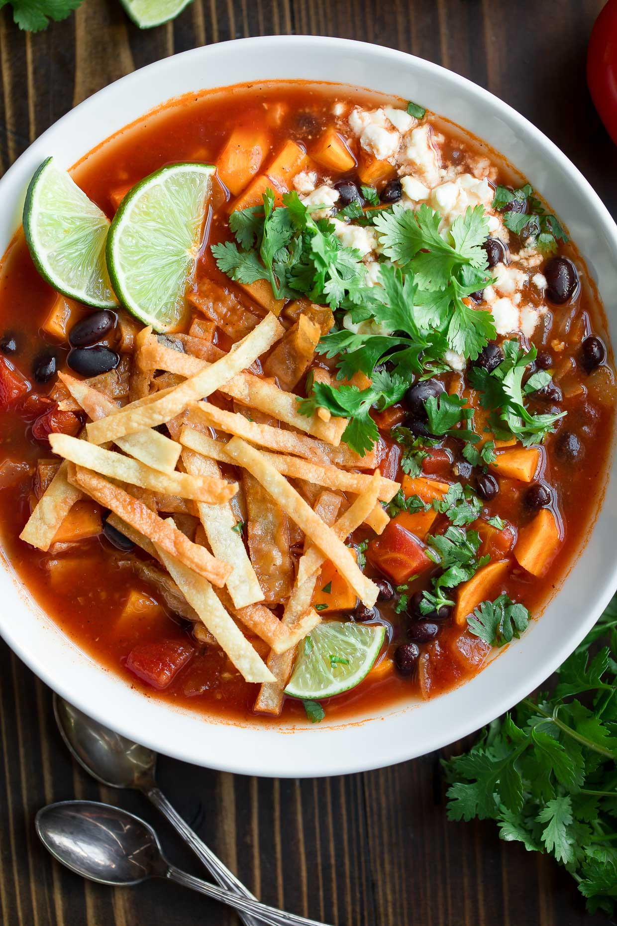 Vegetarian Black Bean Tortilla Soup