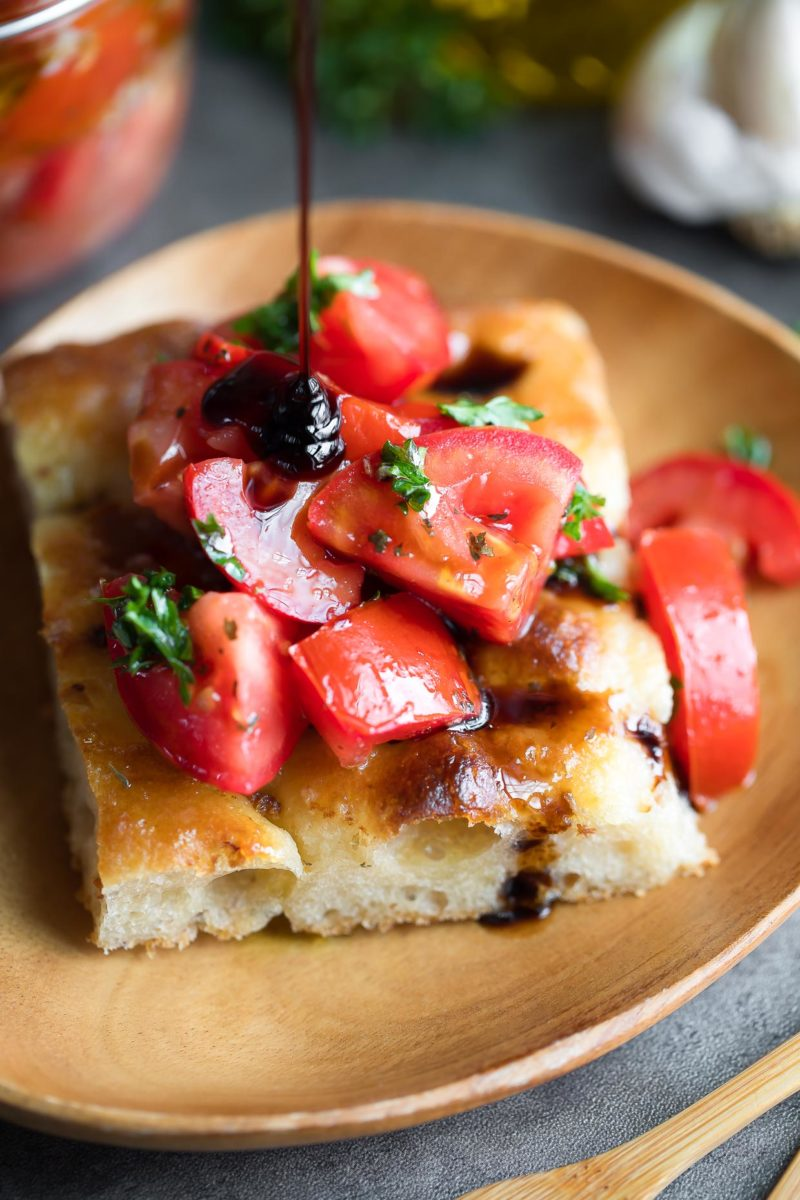 Marinated Tomatoes on Homemade Focaccia Bread