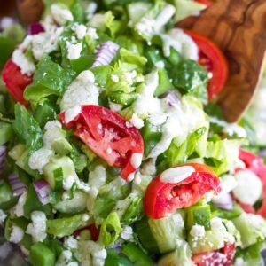 Mediterranean Chopped Salad with Creamy Greek Dressing