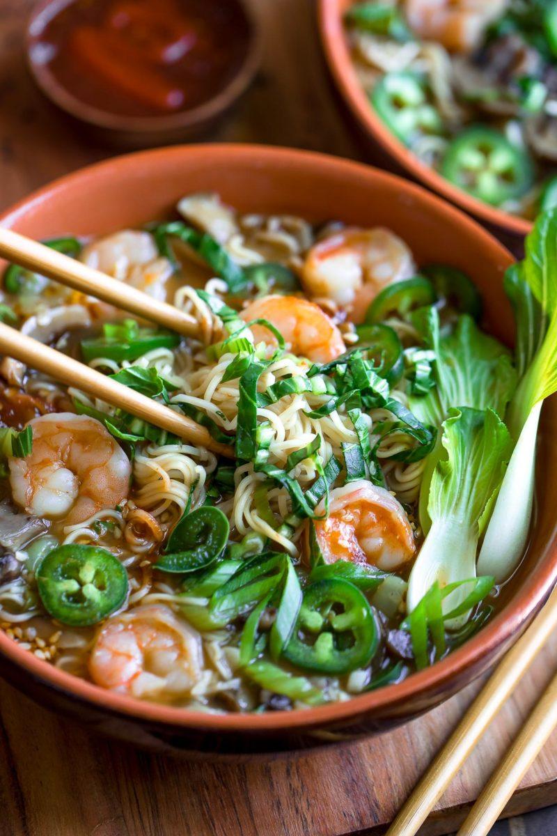 Shrimp Ramen Bowls with Mushrooms, Bok Choy, and Jalapeños