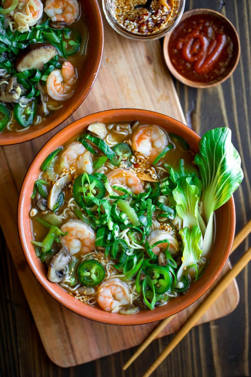 Spicy Ramen Bowls with Shrimp