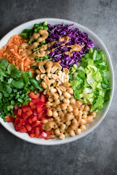 Thai Chickpea Salad with Peanut Dressing