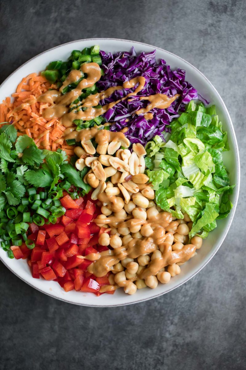 Rainbow Thai Chopped Chickpea Salad with Peanut Dressing