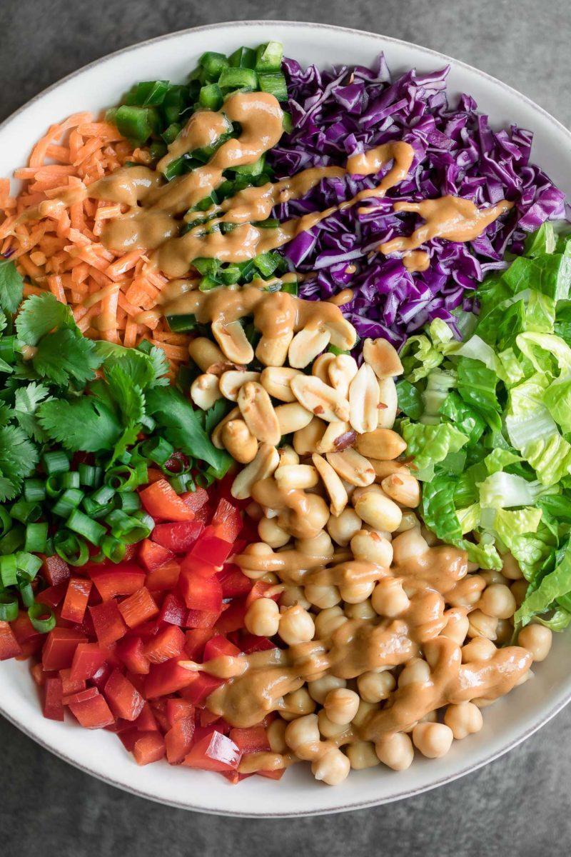 Thai Chickpea Salad with Peanut Dressing