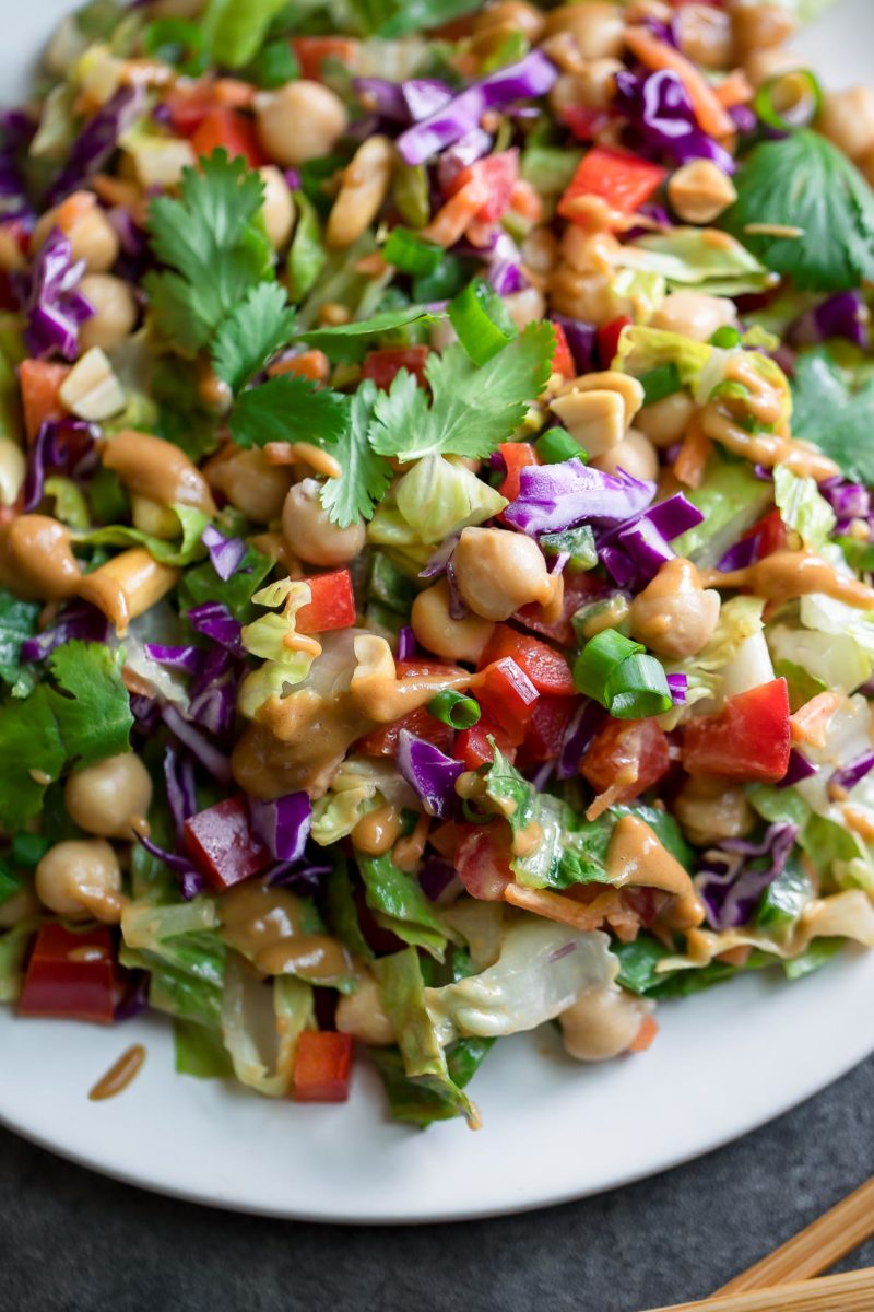 Thai Chopped Chickpea Salad with Peanut Dressing