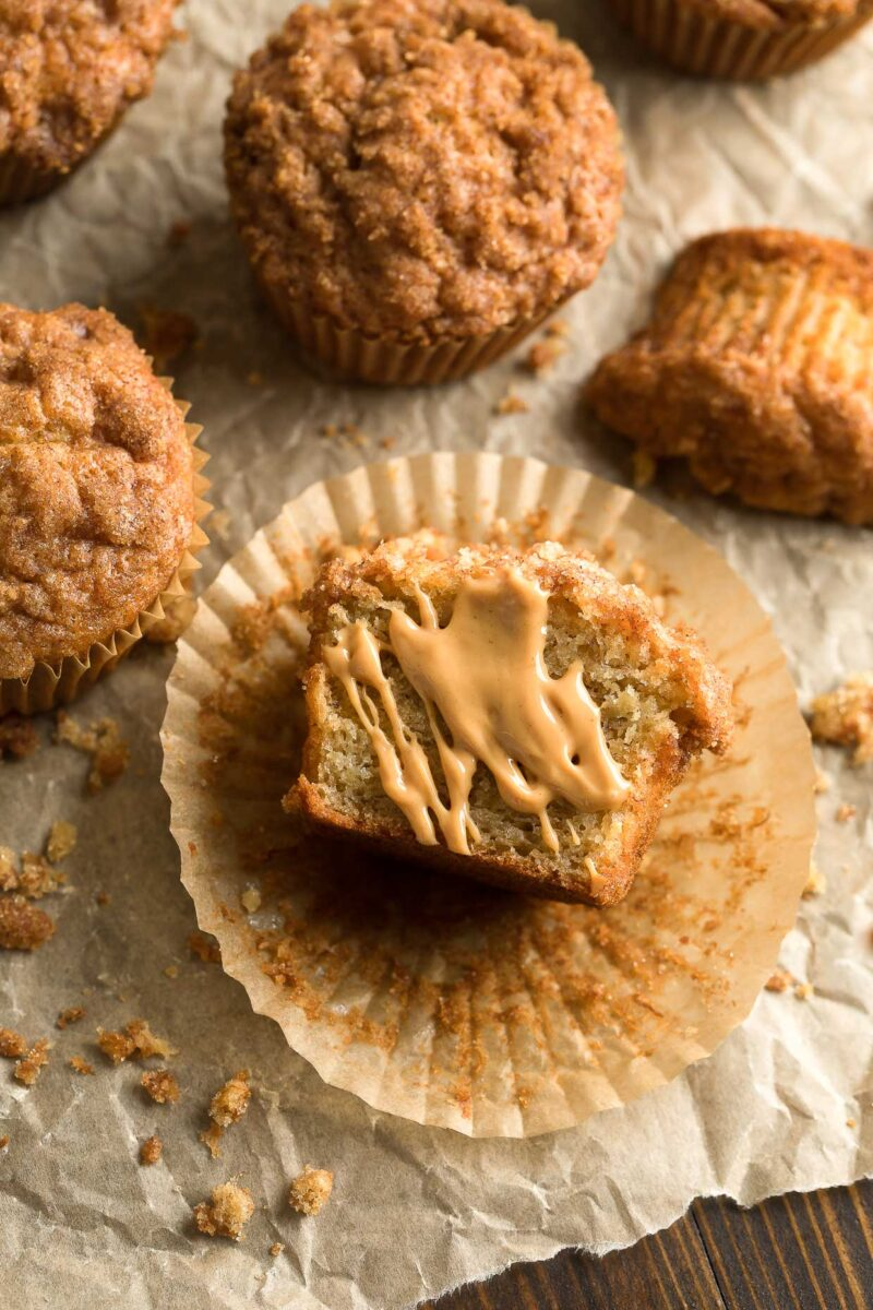 Banana Streusel Muffins with Peanut Butter Drizzle