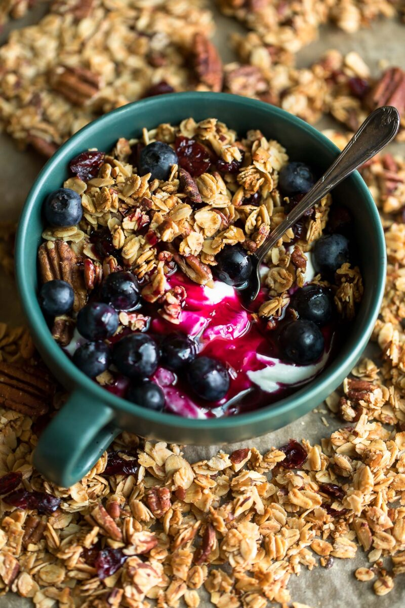 Blueberry Granola Bowl with Blueberry Syrup