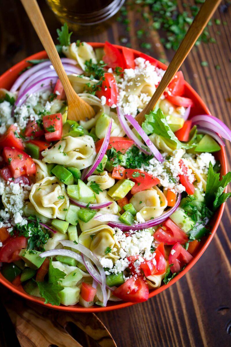 Greek Tortellini Pasta Salad with Feta and Avocado