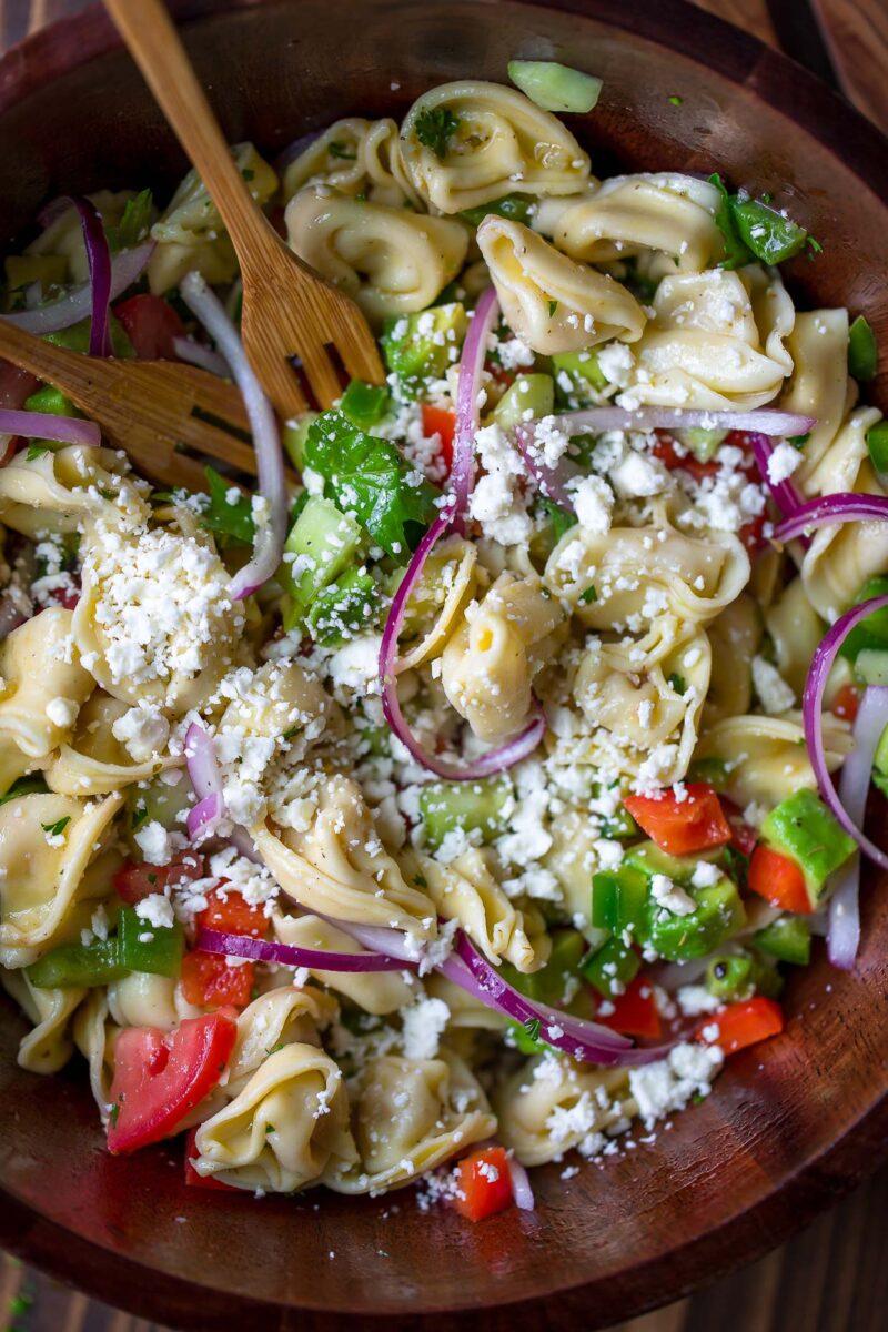 Mediterranean Tortellini Pasta Salad Bowl with Feta and Veggies