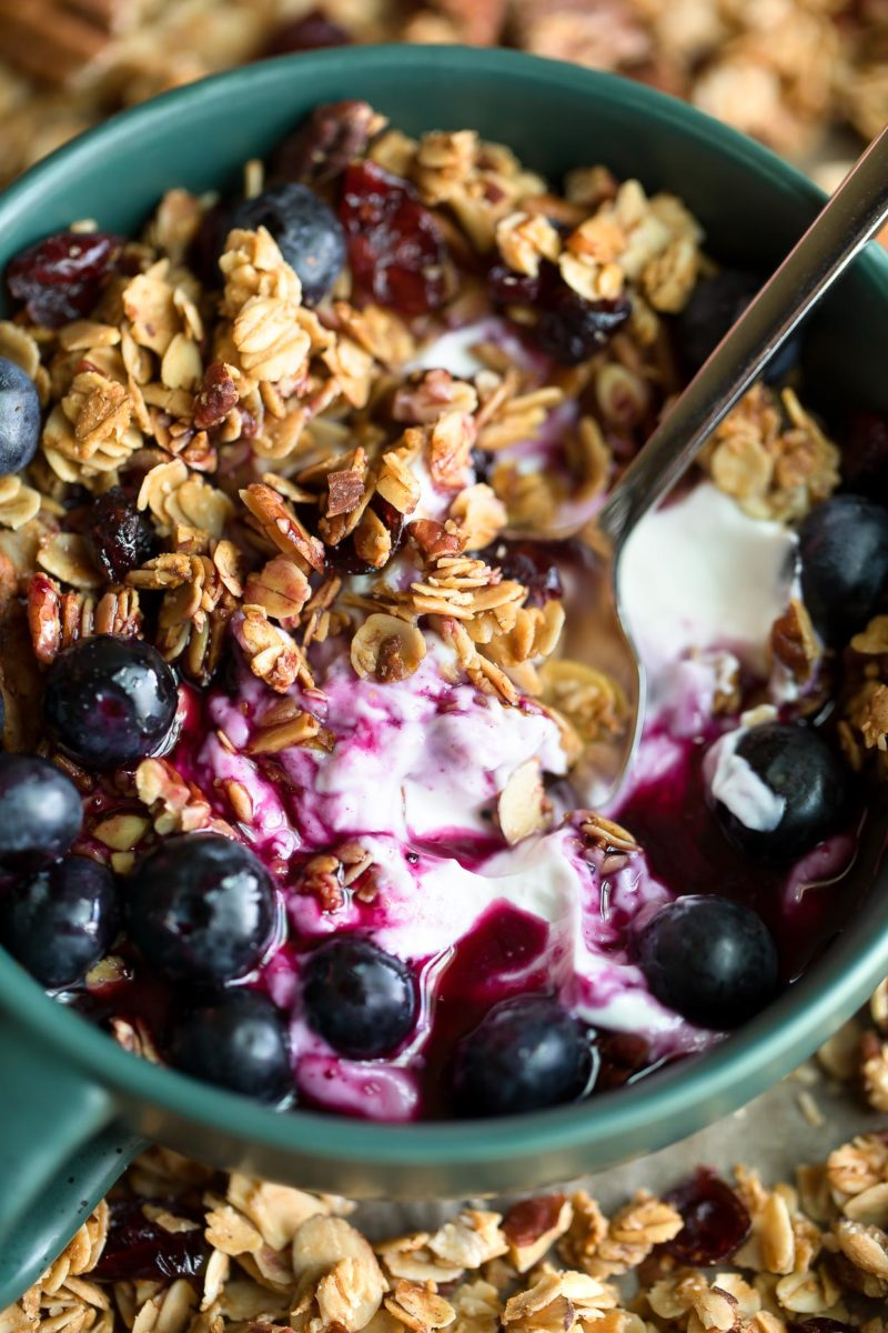 Maple Pecan Granola with blueberries and berry syrup