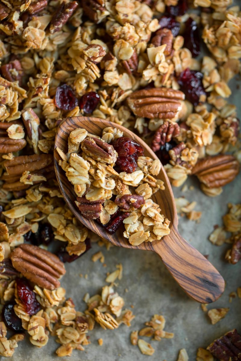 Cinnamon Maple Granola with Cranberries and Pecans