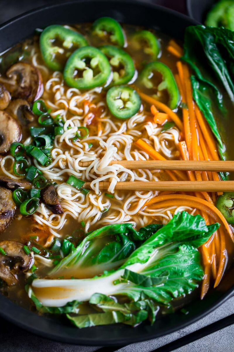 Vegan Mushroom Ramen Soup with Chopsticks