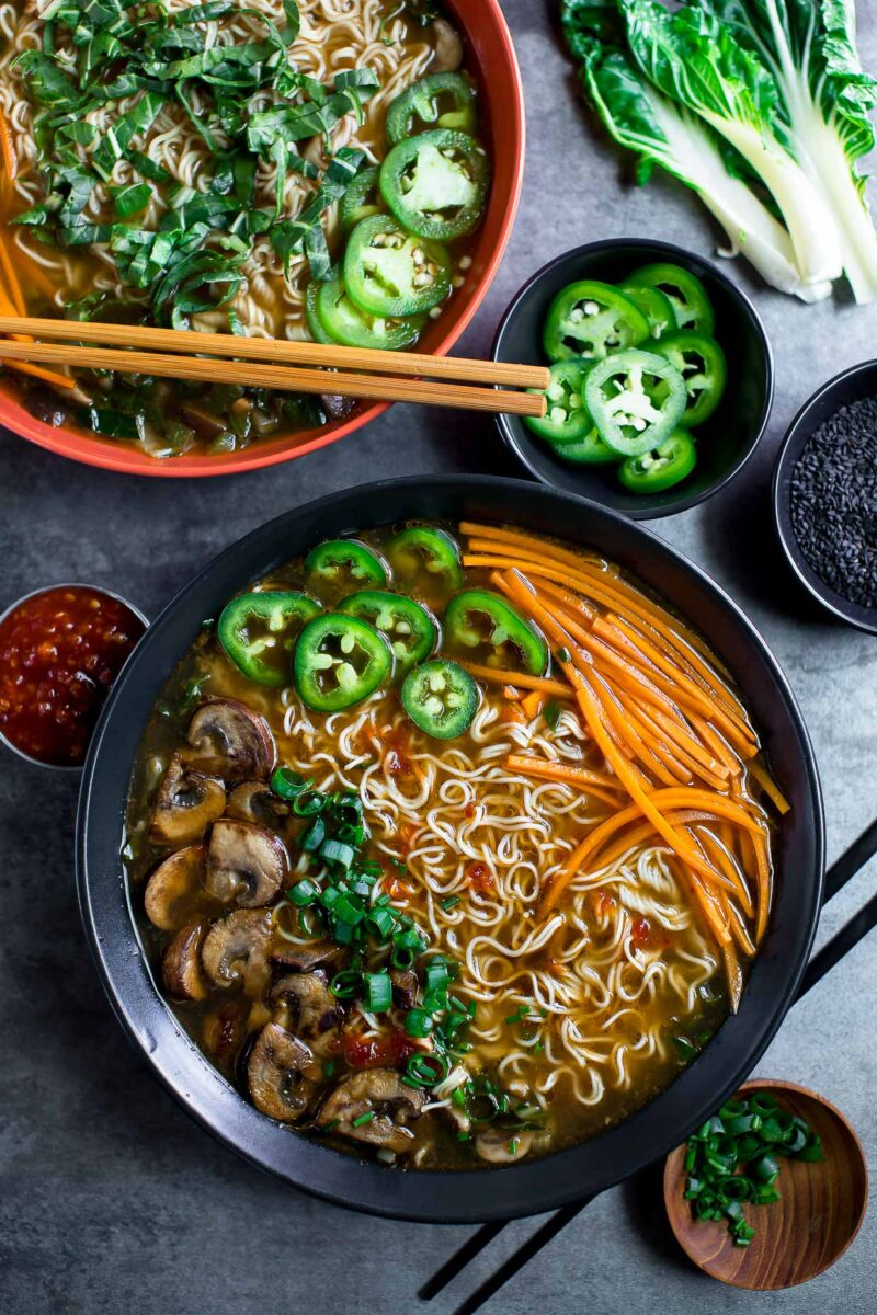 Mushroom Ramen Soup Bowls with Toppings