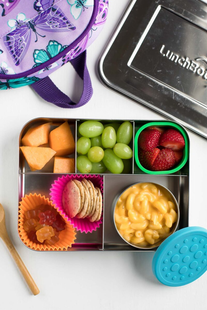 Kids Bento Box School Lunch with Mac and Cheese and Fruit