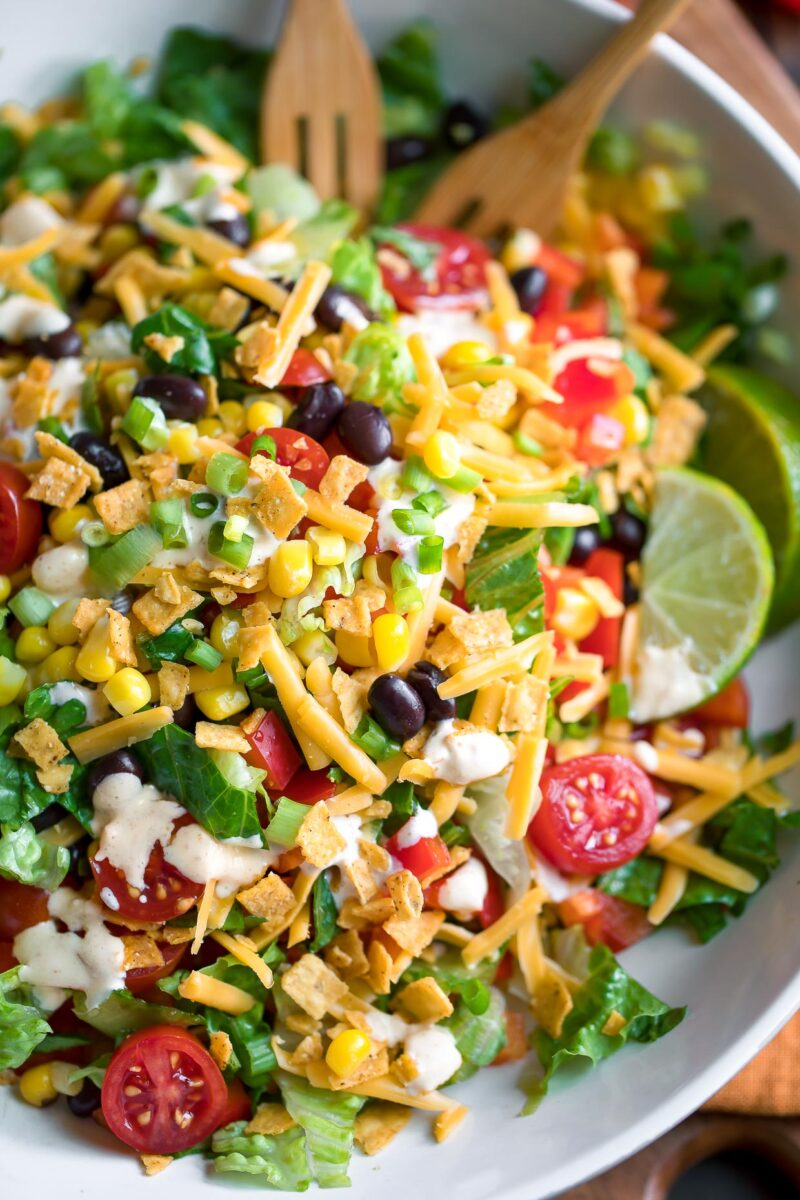 Black Bean Taco Salad Bowl topped with Creamy Salsa Dressing