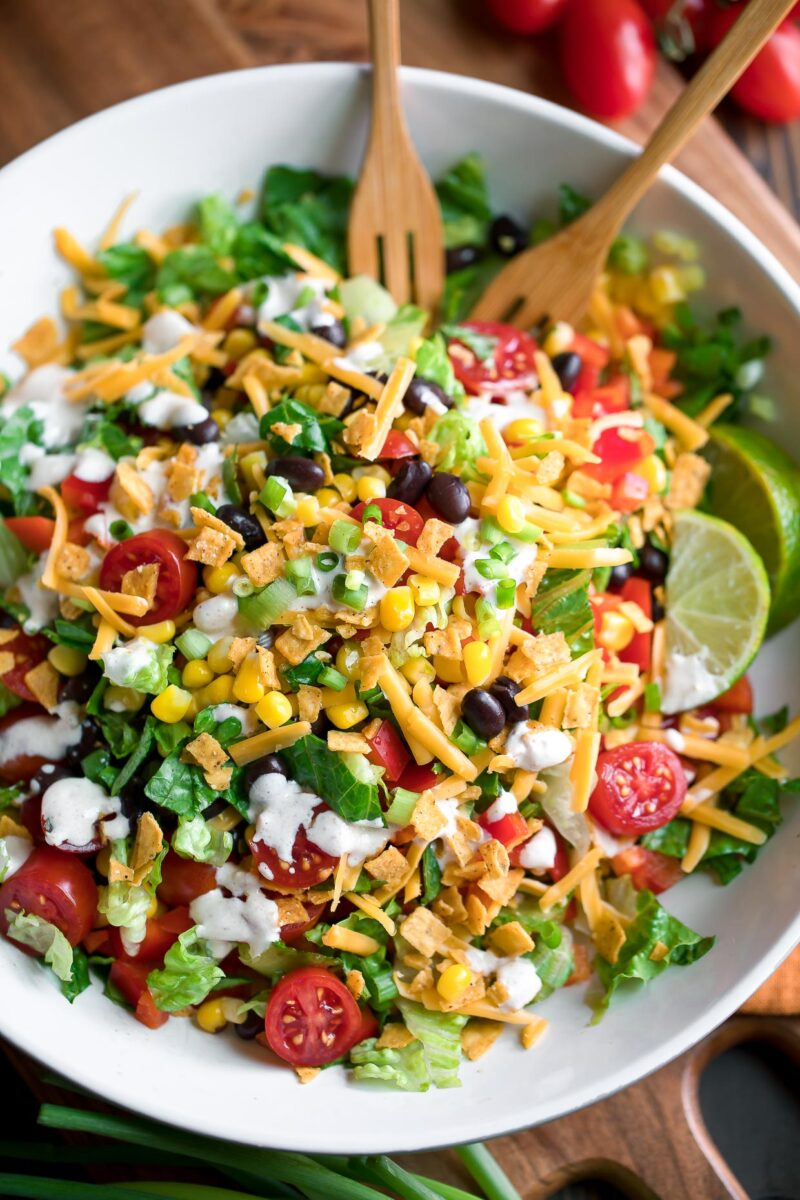 Black Bean Taco Salad with Creamy Salsa Dressing